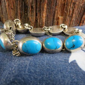 Sterling Silver CII Mexican Turquoise Bracelet